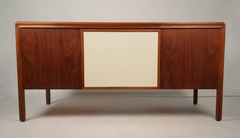 Walnut Campaign Desk with Leather Top and Drawers Gerry Zanck In Good Condition For Sale In Dallas, TX