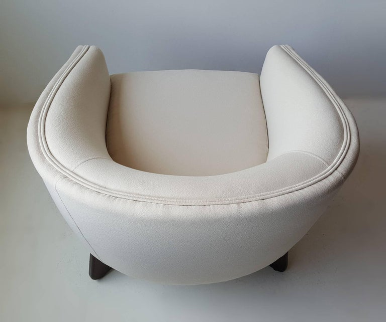 Adrian Pearsall Lounge Chair with Sculptural Walnut Base In Excellent Condition For Sale In Dallas, TX