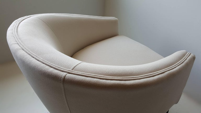 Textile Adrian Pearsall Lounge Chair with Sculptural Walnut Base For Sale