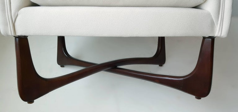 Adrian Pearsall Lounge Chair with Sculptural Walnut Base For Sale 1