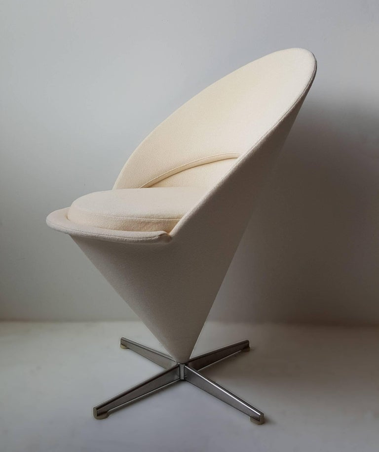'Cone Chair' designed 1957 by Verner Panton. Chair is early production in very good original condition with the original wool upholstery.