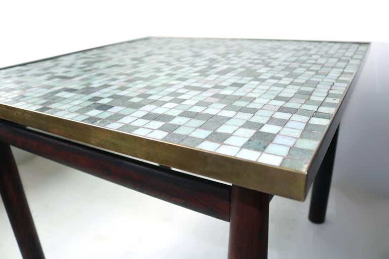 Mid-Century Modern Edward Wormley Rosewood Occasional Table for Dunbar with Murano Glass Tile Top For Sale