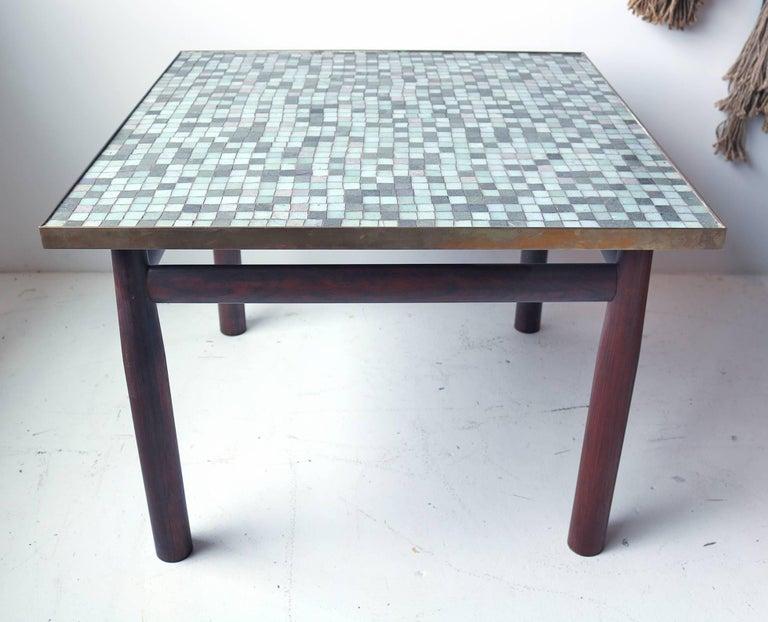 Rare Edward Wormley for Dunbar solid Brazilian rosewood occasional table with Murano Glass tile top. Retains green rectangular Dunbar metal label.