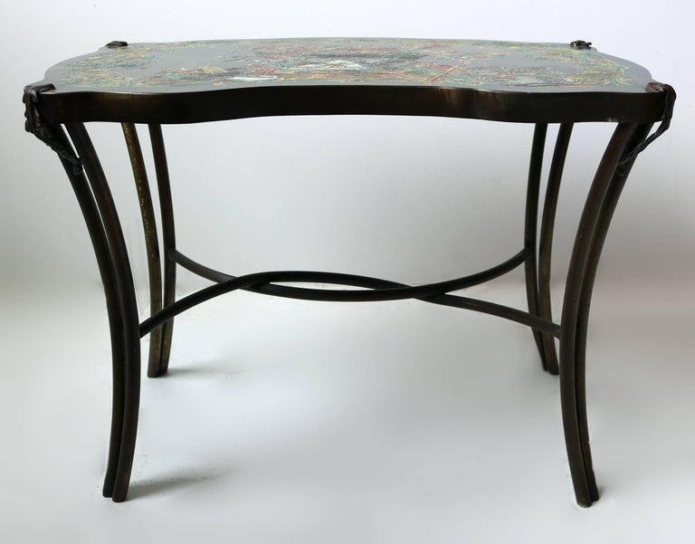 American Philip and Kelvin LaVerne Pompadour Occasional Table in Patinated Bronze For Sale