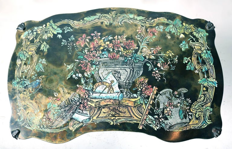 Unusual Philip and Kelvin LaVerne 'Pompadour' occasional side table with a colorful, scholarly, still-life motif. Acid-etched bronze top with applied patina and hand-painted embellishments. Etched signature to top. Image number 7 is the best