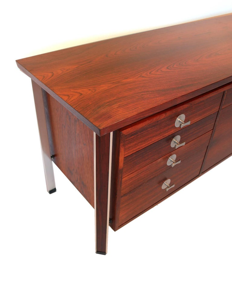 20th Century Finn Juhl Diplomat Cabinet with Floating Bookmatched Brazilian Rosewood Top For Sale