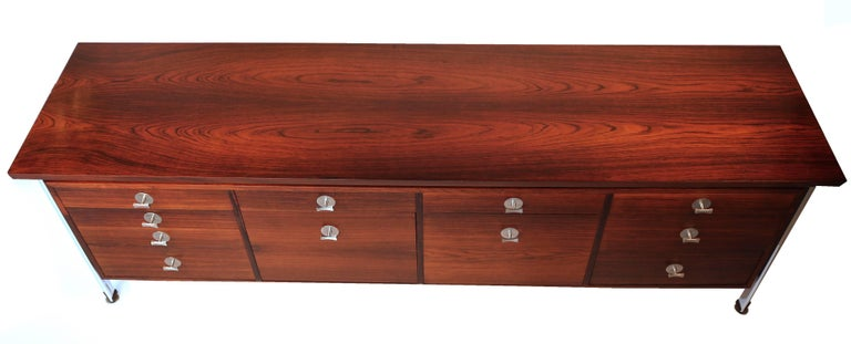 Stainless Steel Finn Juhl Diplomat Cabinet with Floating Bookmatched Brazilian Rosewood Top For Sale