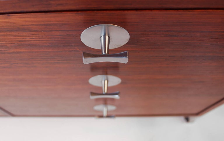 Finn Juhl Diplomat Cabinet with Floating Bookmatched Brazilian Rosewood Top For Sale 3