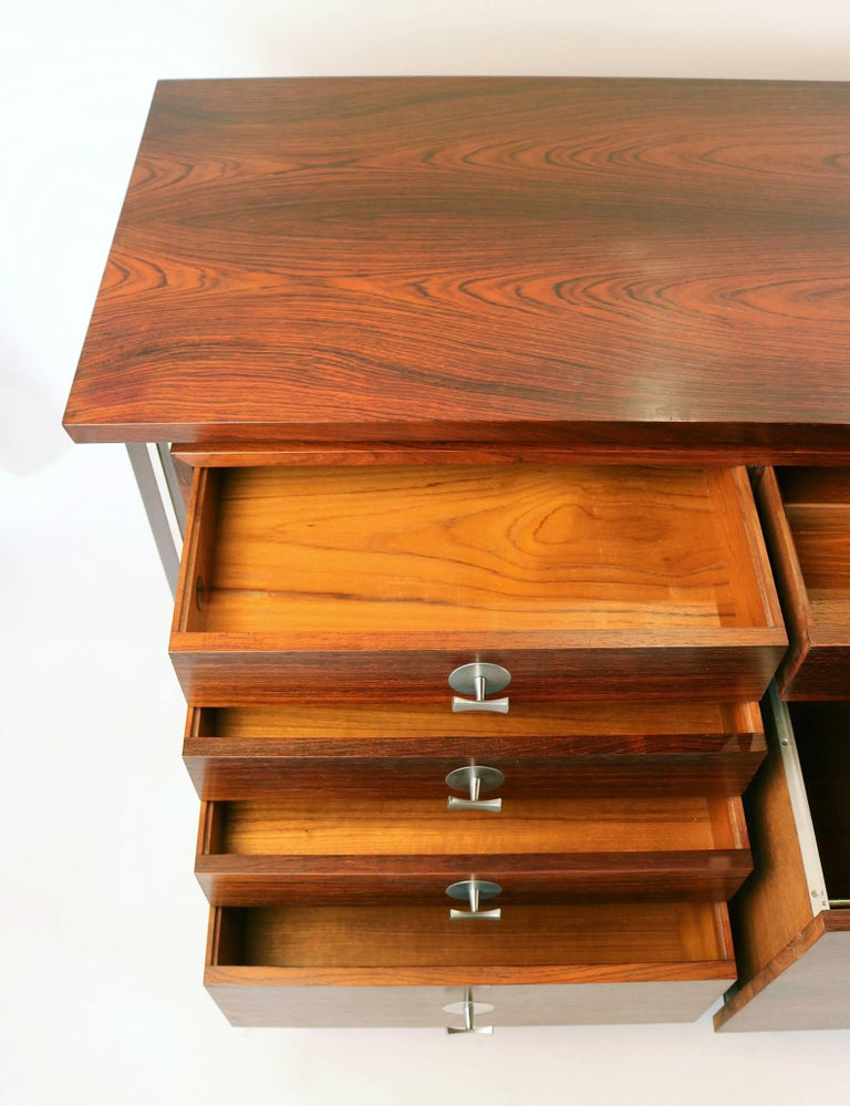 Scandinavian Modern Finn Juhl Diplomat Cabinet with Floating Bookmatched Brazilian Rosewood Top For Sale