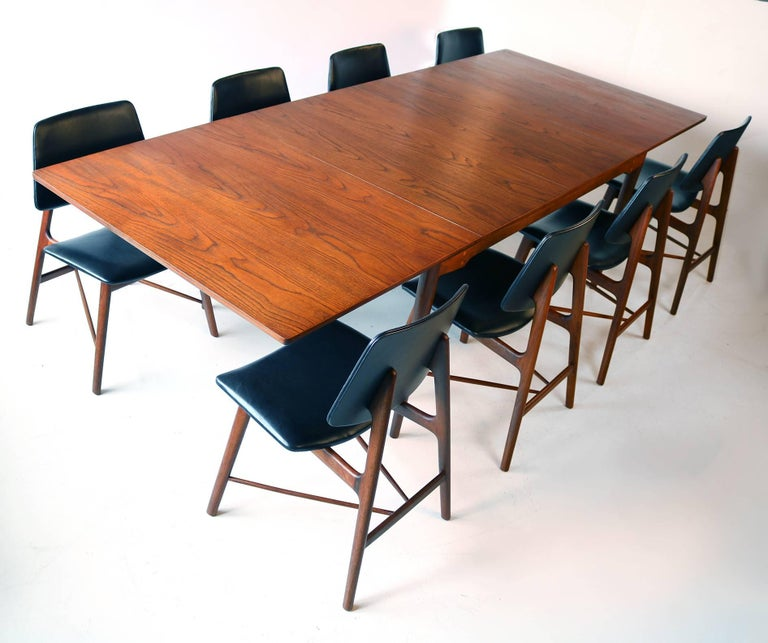 Scandinavian Modern Finn Juhl Complete Dining Set Including Table and Eight Chairs For Sale