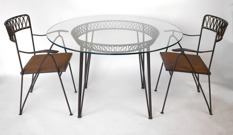 Italian designed patio or breakfast table and chairs by Tempestini for Salterini. In a bronze powder coated finish with new indoor/outdoor foam and Perrenials woven textile (also suitable for exterior use). Original glass top. Excellent condition.
