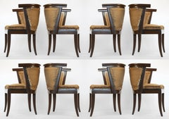 Set of Eight Romweber Solid Oak Dining Chairs by Harold Schwartz