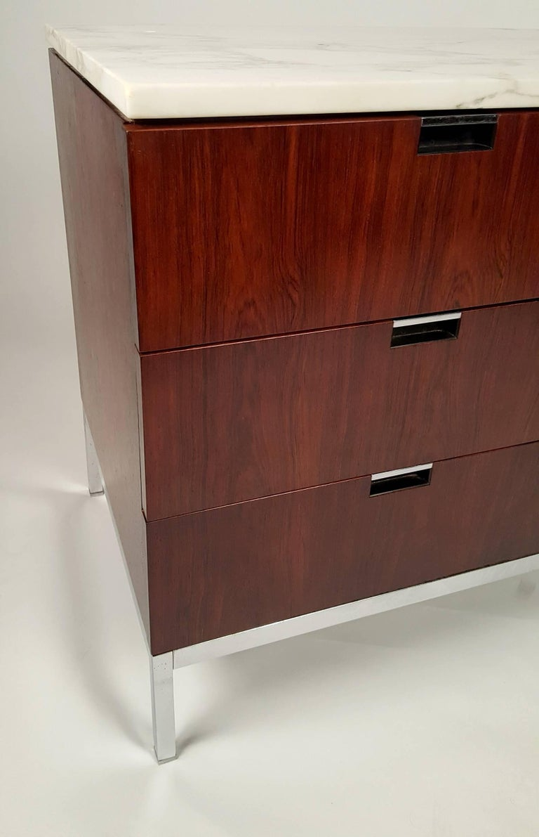 American Florence Knoll Brazilian Rosewood and Calcutta Marble Credenza For Sale