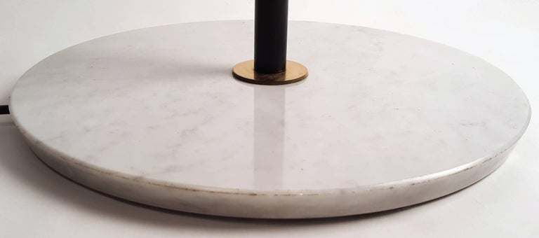 Italian Modernist Stilnovo Floor Lamp with Frosted Glass Shades and Marble Base For Sale 5