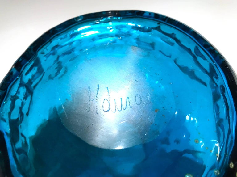 Micronesian Early Handcrafted Signed Glass Vase by Michael Harris for MDina For Sale