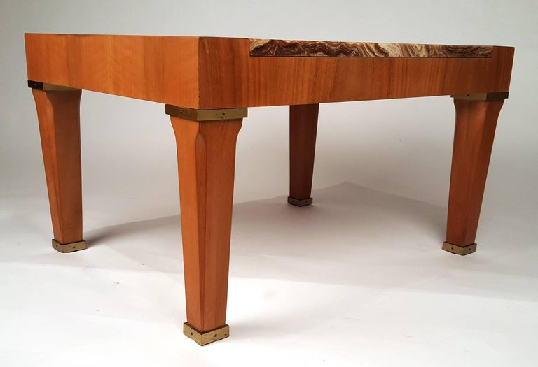 American 1960s Baker Silver Label Onyx and Mahogany Side Table For Sale