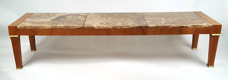 Mid-Century Modern 1960s Baker Silver Label Onyx and Mahogany Coffee Table For Sale