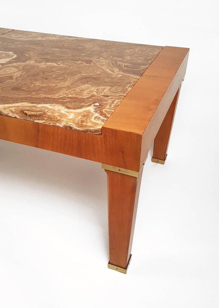 Brass 1960s Baker Silver Label Onyx and Mahogany Coffee Table For Sale