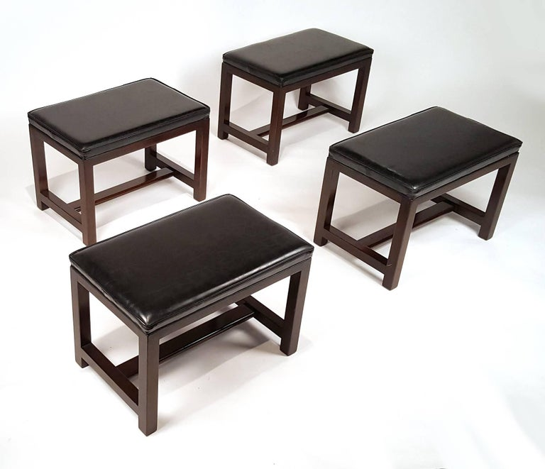 Mid-Century Modern Two Pairs of Solid Mahogany Stools by Edward Wormley for Dunbar For Sale