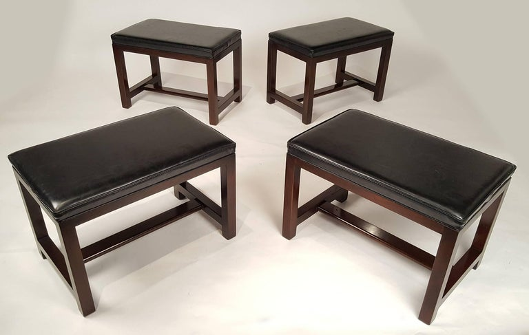 Two Pairs of Solid Mahogany Stools by Edward Wormley for Dunbar In Good Condition For Sale In Dallas, TX