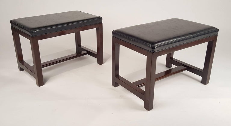 Two Pairs of Solid Mahogany Stools by Edward Wormley for Dunbar For Sale 1