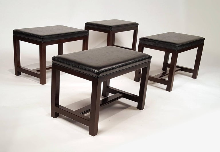 American Two Pairs of Solid Mahogany Stools by Edward Wormley for Dunbar For Sale