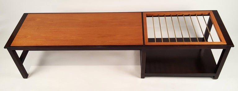 Mid-Century Modern Edward Wormley for Dunbar Table or Bench with Magazine Display For Sale