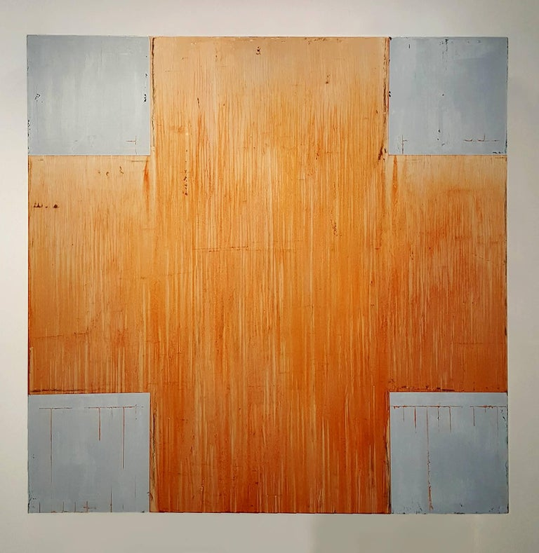 This is a large-scale three-dimensional work by Texas Artist Douglas Cartmel. This work is inspired by the artist's swiss cross series. The geometry is a nine square equilateral cross folded onto a three-dimensional form to create a volume comprised