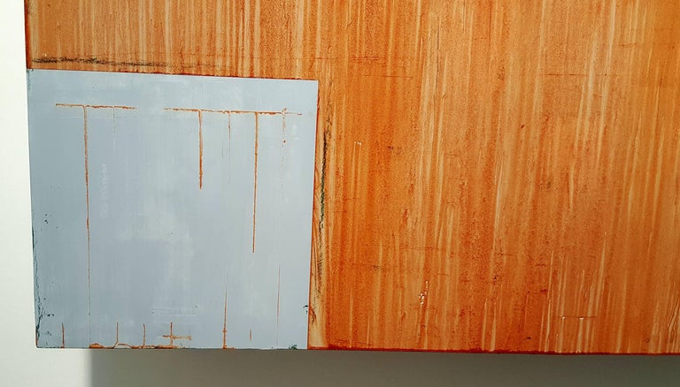 American 'Oxide Red Cross' by Douglas Cartmel Three Dimensional Oil Painting on Birch Box For Sale