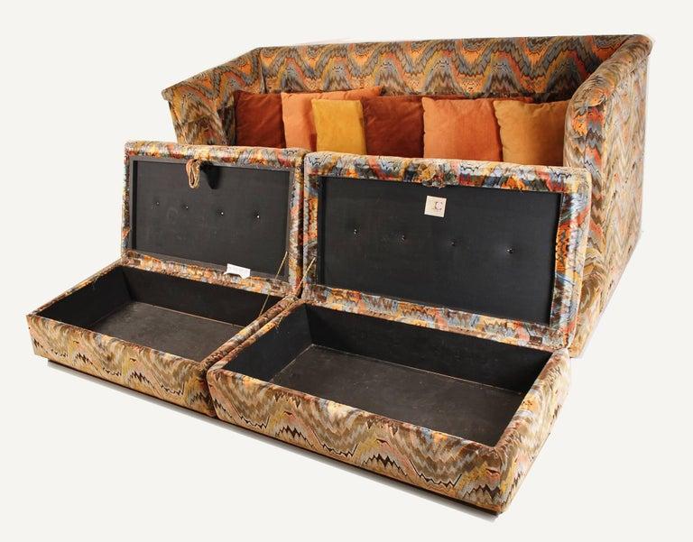 Milo Baughman for Thayer Coggin Shelter Sofa with Treasure Chest Ottomans For Sale 1