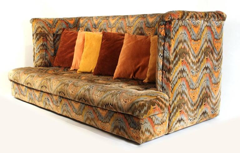 American Milo Baughman for Thayer Coggin Shelter Sofa with Treasure Chest Ottomans For Sale
