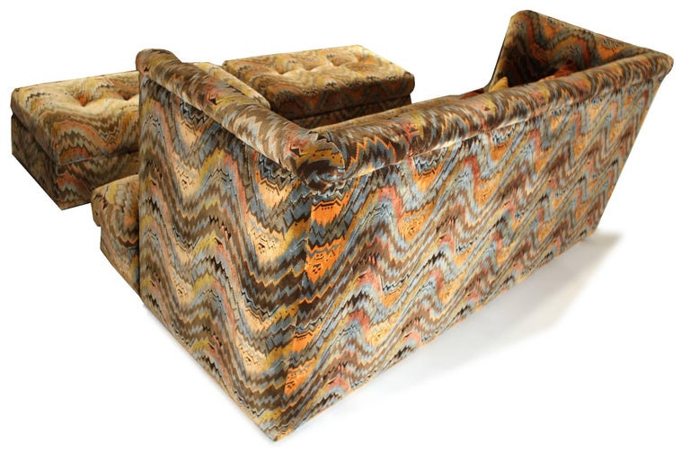 20th Century Milo Baughman for Thayer Coggin Shelter Sofa with Treasure Chest Ottomans For Sale