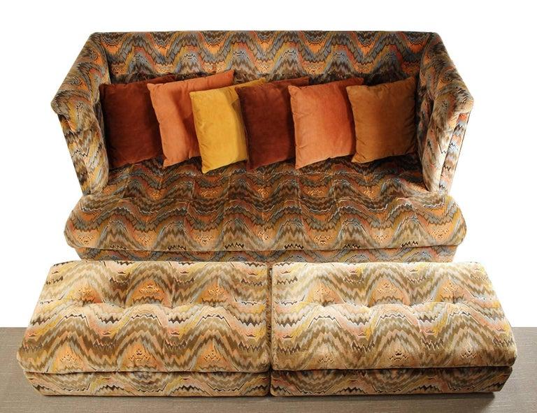 Milo Baughman for Thayer Coggin Shelter Sofa with Treasure Chest Ottomans In Good Condition For Sale In Dallas, TX