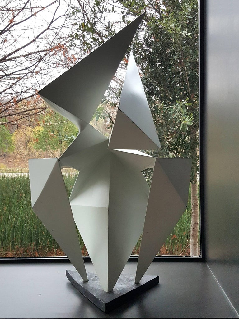Phenomenal lacquered steel abstract sculpture by artist Edward D Hart. 