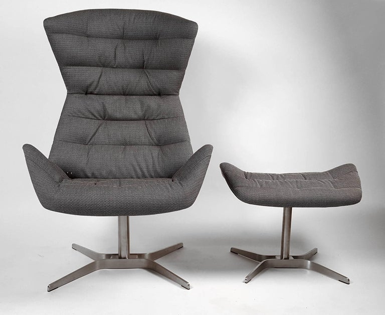 Modern Gebruder Thonet Tilt and Swivel Lounge Chair and Ottoman For Sale