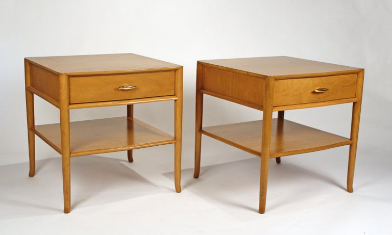 Early Gibbings designed nightstands for Widdicomb with gold plated hardware. Refinished.