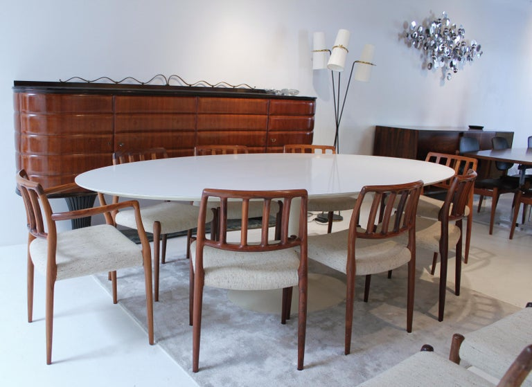 Mid Century Modern Vintage Elliptical Eero Saarinen Tulip Dining Table For Knoll