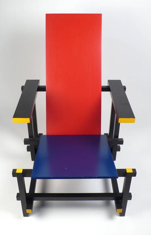 Bauhaus Vintage Gerrit Rietveld Chair Produced under License by Cassina For Sale