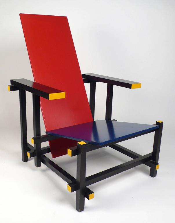Vintage Gerrit Rietveld chair produced under license by Cassina. Stamped and numbered to underside of chair. From the estate of a prominent local architect. A beautiful example that shows has the perfect amount of age and wear.