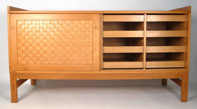 Mid-20th Century Danish Modern Woven Face Oak Sideboard For Sale