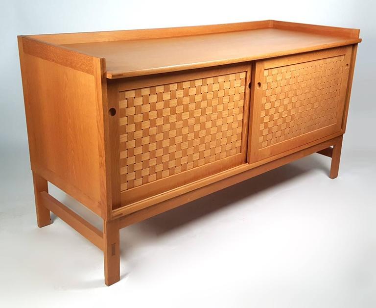 Scandinavian Modern Danish Modern Woven Face Oak Sideboard For Sale