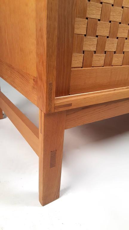 Danish Modern Woven Face Oak Sideboard For Sale 4