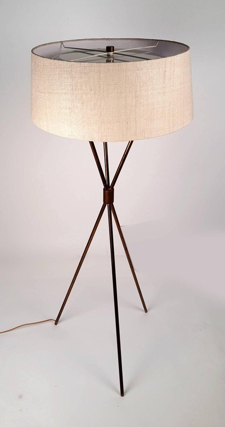 Mid-Century Modern T.H. Robsjohn-Gibbings Tripod Floor Lamp for Hansen For Sale