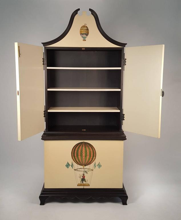 trompe l 39 oeil cabinet embellished with 18th century aeronautical motif for sale at 1stdibs. Black Bedroom Furniture Sets. Home Design Ideas
