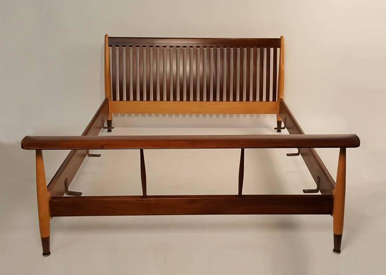 Rare Finn Juhl Designed Double Bed Frame In Solid Maple And Walnut Produced The