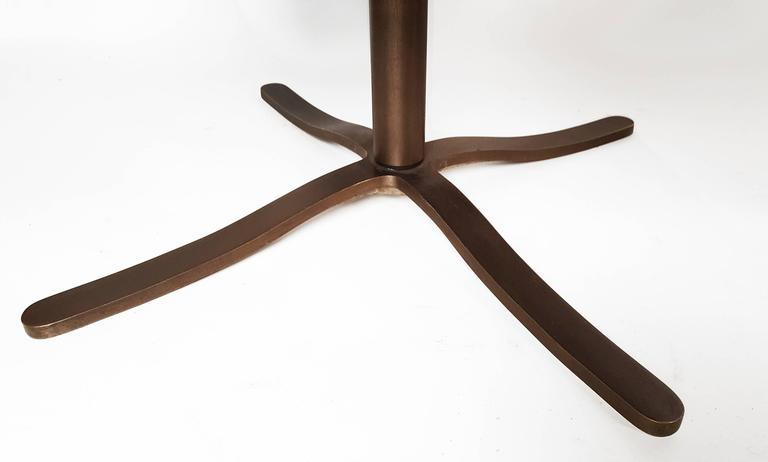 Set of Four Leather Nicos Zographos Dining Chairs with Oil Rubbed Bronze Bases 5