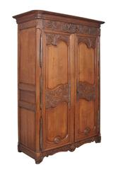 Early 19th Century French Carved Oak Marriage Armoire