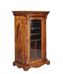 Victorian 19th Century Burl Walnut Music Cabinet