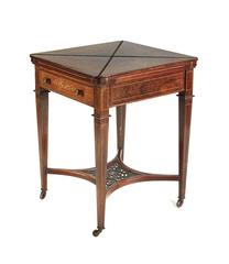 Late 19th Century Victorian Rosewood Marquetry Envelope Card Table