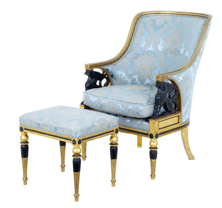 Stunning 19th Century Swedish Gothenburg Gilt Armchair and Stool For Sale